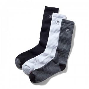 Three Pair Sagamore Beach Socks for Men in Grey