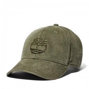 Cotton Corduroy Baseball Cap for Men in Green