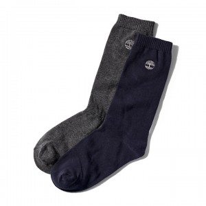 Two Pair Everyday Crew Socks for Men in Blue/Grey