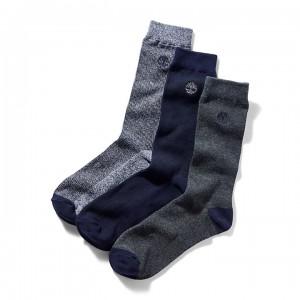 Three Pair Pique Crew Socks for Men in Blue