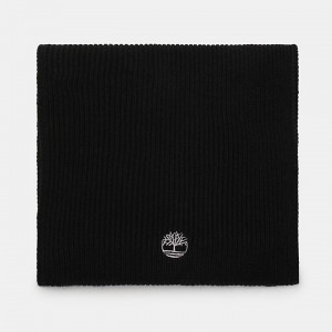 Essential Ribbed Scarf for Men in Black