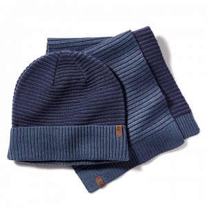 Winter Hat and Scarf Gift Set for Men in Navy