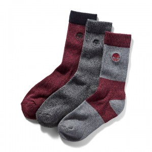 Three Pair Boot Sock Gift Pack for Men in Red/Grey