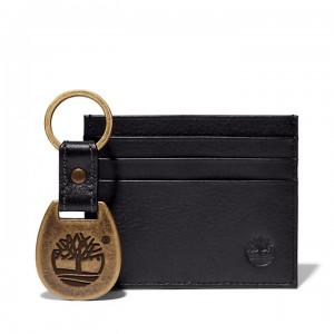 Leather Card Holder & Keyring Gift Set for Men in Black
