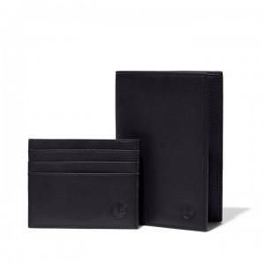 Passport Cover & Cardholder Gift Set for Men in Black