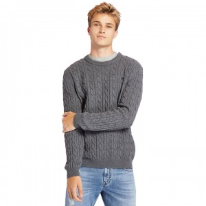 Phillips Brook Cable Sweater for Men in Dark Grey